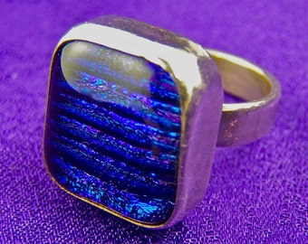"""Dichroic Sterling Ring - Deep Blue Reed - 1/2"""" 12mm - Fused Glass Cabochon Bezel Set in Fine Silver"""