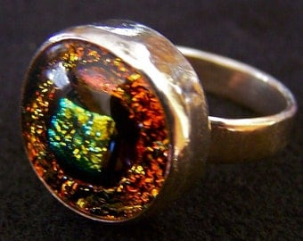 """Dichroic Sterling Ring - Gold Dot Orange Fused Glass Cabochon Set in Silver Bezel - 1/2"""""""