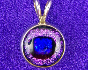 Purple Violet Blue Dichroic Sterling Silver Pendant - Fused Glass Cabochon - Rabbit Ear Bail - 1/2 Inch - 12mm