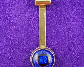 Dichroic Sterling Long Pendant - Blue Fused Glass Bezel Set Dangle in Silver