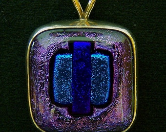 Dichroic Silver Pendant - 1 Inch Purple Blue Teal Fused Glass Set in Sterling Bezel