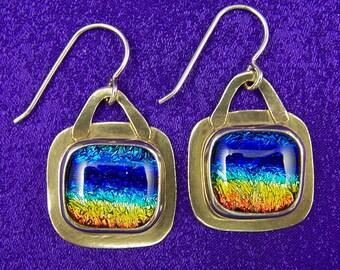 "Rainbow Dichroic Glass & Sterling Silver Dangle Earrings - Tie Dye Rainbow Copper Orange Blue Fused Glass Cabochon in Silver - 5/8"" - 16mm"
