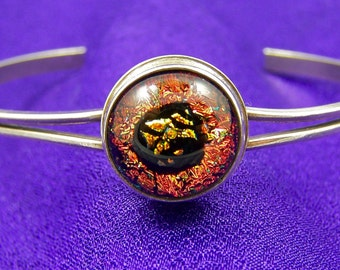 "Sterling & Dichroic Cuff Bracelet - Rusty Copper Orange - Fused Glass Set in Silver 1/2"" 12mm - Adjustable"