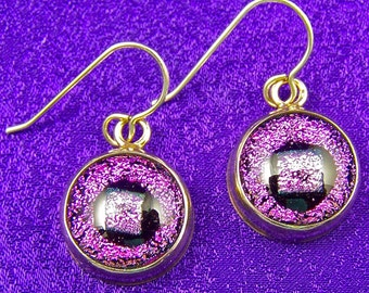 Dichroic Sterling Dangle - Pink Metallic Fused Glass Bezel Set in Fine Silver - 1/2 Nuggets