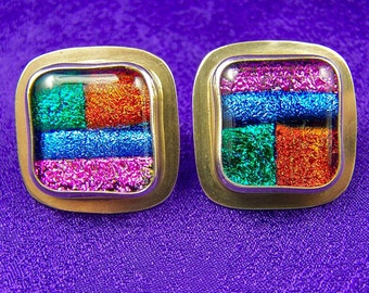 "Dichroic Glass & Sterling Silver Earrings  - Bright Patchwork Fused Glass - Pink Blue Orange Green - 3/4"" / 2cm"