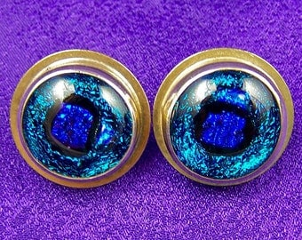 "Blue Sterling Dichroic Post Earrings - Teal Cobalt Fused Glass in Fine Silver Bezel - 3/4"" 2cm"