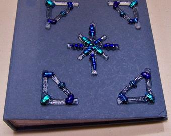 Bethlehem Star Photo Album - Dichroic Fused Glass Teal Cobalt Cornflower Blue Decor Ornate