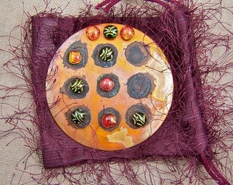 """Tiny Tic Tac Toe - Dichroic Fused Glass Copper Gold 1/4"""" Nuggets & 3 Inch Oxidized Copper Disk"""