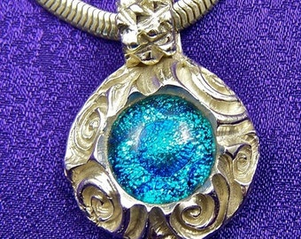 Dichroic Glass & Fine Silver PMC Pendant - Silver Teal Blue Fused Glass - Reversible - Spirals