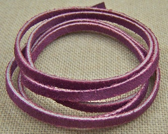 "Necklace Cord - 25""  - Purple Mauve Rose Pink Suede - 3mm Thick"