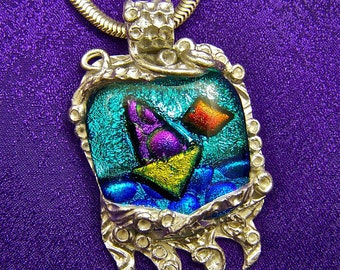 Dichroic PMC Pendant - Silver Precious Metal Clay - Sailboat & Sunset Fused Glass - Teal Blue Sea