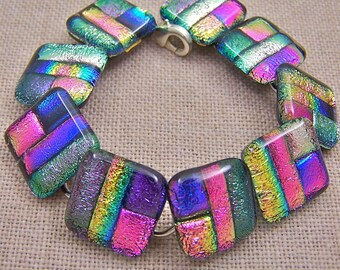 Dichroic Bracelet - Pink & Purple Violet Rainbow Patchwork .75 Inch Nuggets - Fused Glass