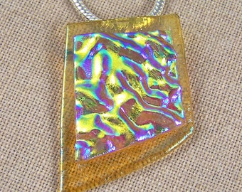 Glass Pendant AND BROOCH- Abstract Golden Amber Dichroic Fused Glass Ripples - Gold Waves
