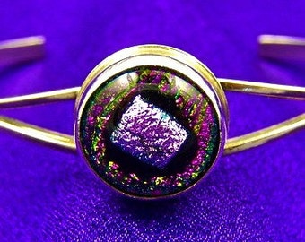 """Pink Dichroic Sterling Bracelet - Cuff with Fused Glass Fine Silver  Bezel Set Magenta Stone - 1/2"""" 12mm"""