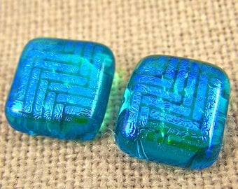 """Dichroic Earrings Turquoise Teal Blue Weave Pattern Post or Clip-on - 1/2"""""""