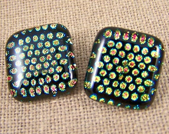 """Polka Dot Dichroic Post or Clip-On Earrings - Large 3/4"""" 2cm - Tiny Dot Patterned-  Pink Gold Black"""