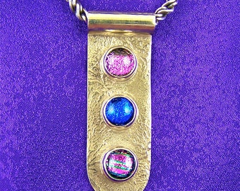 Sterling Dichroic Pendant - Triple Dot Magenta Pink Blue & Violet Fused Glass Bezel Set in Silver
