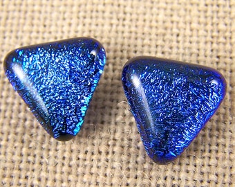 """Dichroic Blue Triangle Post Earrings - 1/2"""" 12mm - Medium Lapis Fused Glass - Stud or Clip-On"""
