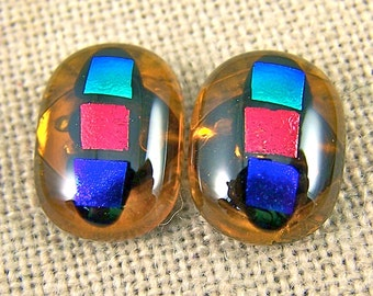 "Dichroic Earrings - Golden Amber Gemstone Post or Clip - 1/2"" 12mm - Cobalt Blue Emerald Green Copper Orange Polka Dots Stained Glass Fused"