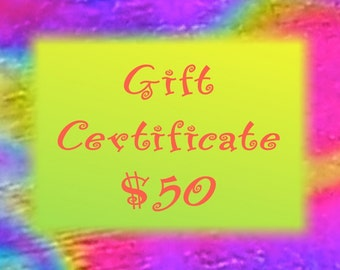 Gift Certificate - 50 Dollars - Dichroic Fused Glass Jewelry & Gifts - Hayden Brook Studios