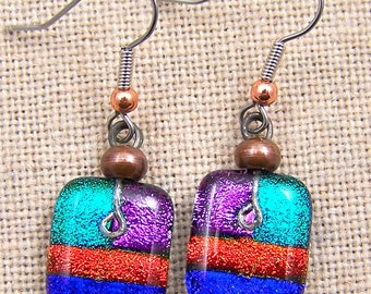 Patchwork Dichroic Dangle Earrings - Colorful Green Blue Orange Purple with Copper Beads Surgical Steel French Wire or Clip On