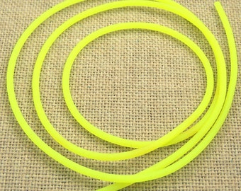 Cord for Necklace String Findings or Crafts DIY - 22 inches - 2mm - Neon Day-Glo Yellow Rubber