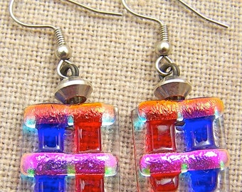 """Dichroic Earrings Ruby Red Sapphire Blue - Orange Pink Rock Candy Dangle Surgical Steel French Wire or Clip On - Fused Glass - 3/4"""""""
