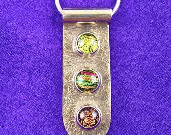 Sterling Dichroic Pendant / Copper Orange Gold Triple Dot Fused Glass Bezel Set in Fine Silver