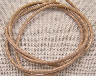 "Cord - 25"" - 2mm - Warm BEIGE Wax Cotton"