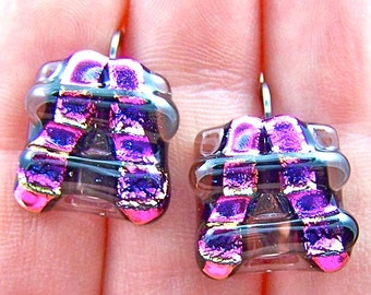 Dichroic Earrings Fuchsia Pink & Plum Pagoda Layered Fused Glass Lever Back Dangle EUROWIRE - 5/8""