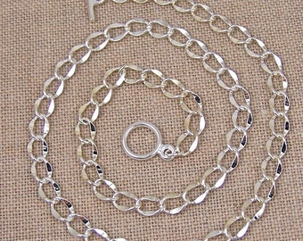 "Necklace Chain - Hammered Curb with Toggle Clasp - 6mm - 18"" - Custom Lengths Available 16"" 20"" 24"" 30"""