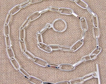 "Cable Chain (Drawn Flattened) - 5.5mm - Silver Plate Toggle Clasp -  20"" - Custom Lengths Available - 16"" 18"" 24"""