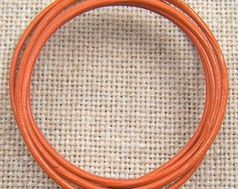 "Necklace Cord - 25"" - 1mm - Thin Orange Tangerine Leather"