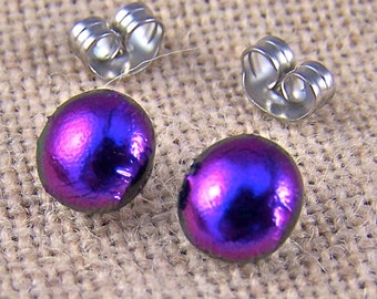 """Tiny Dichroic Post Earrings - 1/4"""" 6mm 7mm - Deep Violet Purple Fused Glass Lolly Pop Studs Posts"""