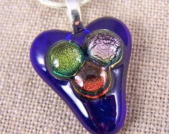 Dichroic Dots Heart Pendant - Cobalt Blue Fused Glass with Gold Pink and Copper Red