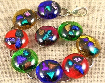 """Dichroic Bracelet - Colorful Shards Fused Inside Stained Glass - 5/8"""" - Multicolored"""