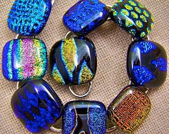 """Dichroic Link Bracelet - Bright Colorful Patterns Fused Glass - 3/4"""" 2cm"""