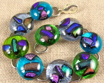Dichroic Shard Bracelet -  Tiny Chips of  Fused Glass - Blue Green Purple