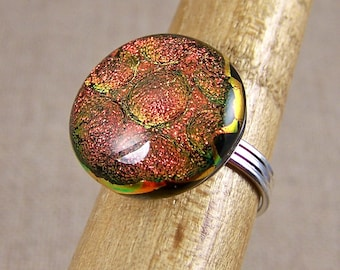 """Dichroic COCKTAIL Ring ADJUSTABLE Fused Glass - 3/4"""" 2cm - Gold Copper Orange Bubbles"""