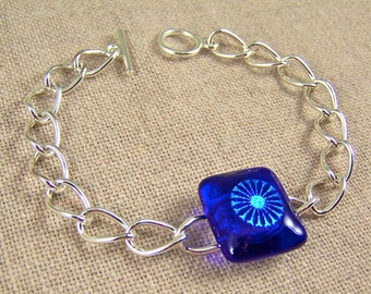 """FIREWORKS Dichroic Bracelet Chain - Royal Cobalt Blue and Green Teal Fused Glass - 3/4"""""""