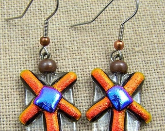 Flower Earrings Dichroic Dangle - Copper Rusty Red Orange with Violet Pink and Clear Fused Glass