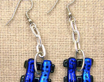 Dichroic Earrings - Blue Teal Green Patterned Fused Glass - Dangle Weave Square Diamonds - Surgical Steel French Wire or Clip On