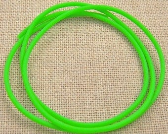 "Cord for Necklace String Findings or Crafts DIY - 22"" - 2mm -  Bright Neon Lime Green Rubber - Day Glow Dayglow"