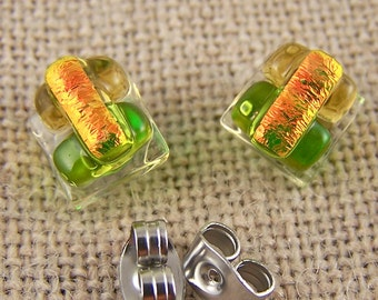 "Tiny Dichroic Stud Post Earrings - 1/4"" 7mm 8mm- Lime Green Golden Amber Peach Orange Fused Glass - Rock Candy Studs"
