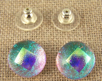 "Dichroic Earrings - 1/2"" 12mm - Neon Post or Clip-On - Kiwi Teal Green with Gold Accent Dot - Blue Pink Highlights Moonstone Glow"
