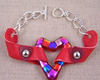 RED Heart Dichroic Glass & Leather Bracelet - Fused Glass on RED Leather - Silver Plated Chain with Toggle Clasp