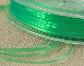 Stretch Cord for Jewelry - Bottle Green Rubber Elastic Floss - Necklace String Findings or Crafts DIY - 3' / 1 Yard / 3 Feet  - .8mm