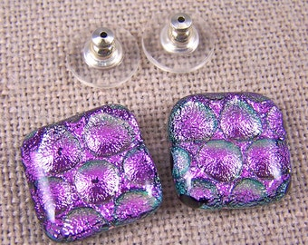 "Dichroic Studs Earrings Large - Soft Pastel PINK - Bubble Dots Radium Post or Clip On - Large 3/4"" 2cm"