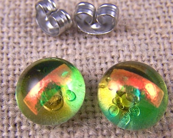"""Tiny Dichroic Stud Earrings Lime Green Yellow Gold Amber Glass - Post Studs 1/4"""" 10mm 7mm 8mm - Clear Copper Peach Accent - Rock Drop"""