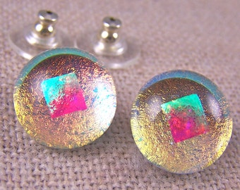 """Dichroic Earrings - Post or Clip On - 1/2"""" 12mm - Copper Peach Opal Ice Yellow Green & Gold Diamonds Yellow Fused Glass"""